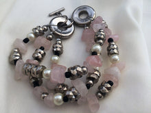 Load image into Gallery viewer, Rose Quartz Bracelet. Vintage Fashion Jewelry