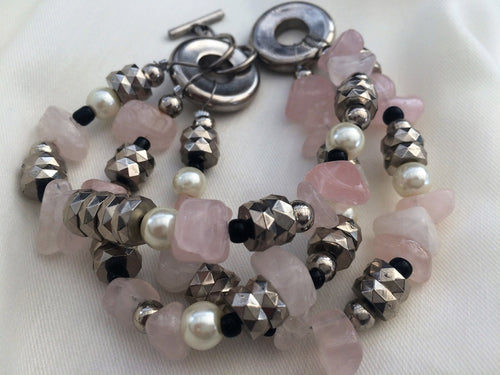 Rose Quartz Bracelet. Vintage Fashion Jewelry JE0007