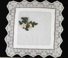 Load image into Gallery viewer, Antique Irish Lace and Linen Tablecloth with Openwork Ajour Embroidery and Filet Crochet Edging