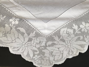 Large Antique Irish Lace and Linen Tablecloth with Ajour Embroidery and Deep Floral Filet Crochet Edging