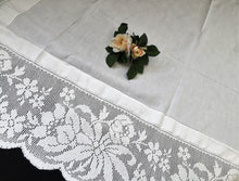 Load image into Gallery viewer, Large Antique Irish Lace and Linen Tablecloth with Ajour Embroidery and Deep Floral Filet Crochet Edging