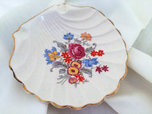 Load image into Gallery viewer, English Ware Lancaster Sandland Ltd. Hanley Seashell Shaped Floral Soap Dish