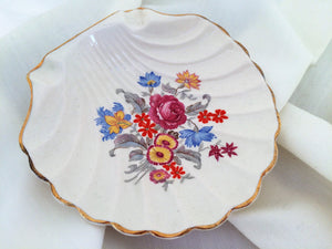 English Ware Lancaster Sandland Ltd. Hanley Seashell Shaped Floral Soap Dish