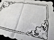 Load image into Gallery viewer, Antique Irish Linen and Crochet Lace Lace Embroidered Tray Cloth or Table Topper with Crocheted Inlay and Scalloped Edging