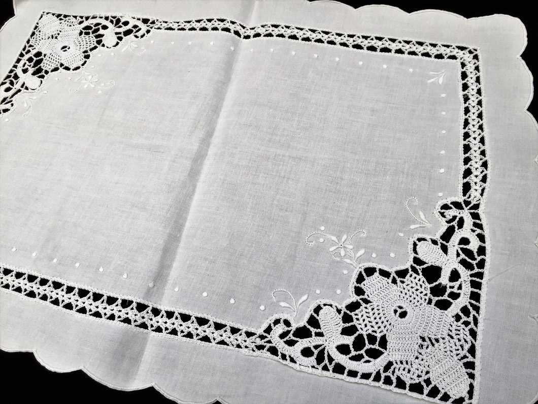 Antique Irish Linen and Crochet Lace Lace Embroidered Tray Cloth or Table Topper with Crocheted Inlay and Scalloped Edging