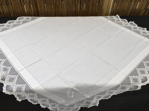 Vintage Art Deco Style Irish Linen Monogrammed (G) Tablecloth with Ajour Openwork Embroidery and Deep Filet Crochet Edging