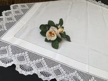 Load image into Gallery viewer, Vintage Art Deco Style Irish Linen Monogrammed (G) Tablecloth with Ajour Openwork Embroidery and Deep Filet Crochet Edging