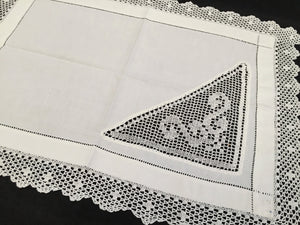 Antique Irish Linen and Lace Doily Mat with Ajour Openwork Embroidery and Crocheted Lace Inset and Border