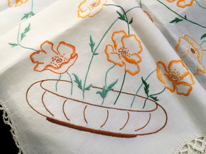 Vintage Hand Embroidered Irish Linen Tablecloth with Orange Poppies Pattern and White Crochet Lace Edging