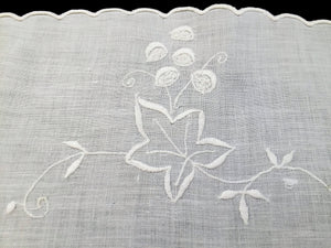 Vintage Irish Linen Embroidered Oval Table Runner or Table Topper with Grapevine Pattern and Scalloped Edging