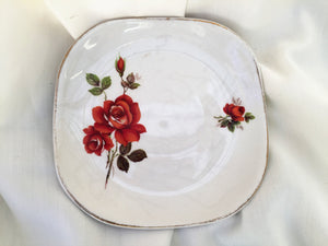 Wood & Sons Burslem Red Roses Small Ring Dish/Pin/Butter/Jam Dish
