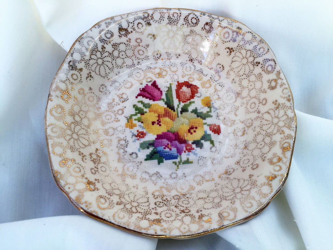 H & K Tunstall Tapestry and Gold Chintz Pattern Ring/Butter/Jam Dish