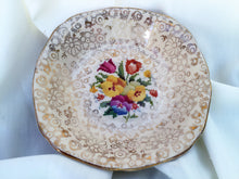 Load image into Gallery viewer, H & K Tunstall Tapestry and Gold Chintz Pattern Ring/Butter/Jam Dish