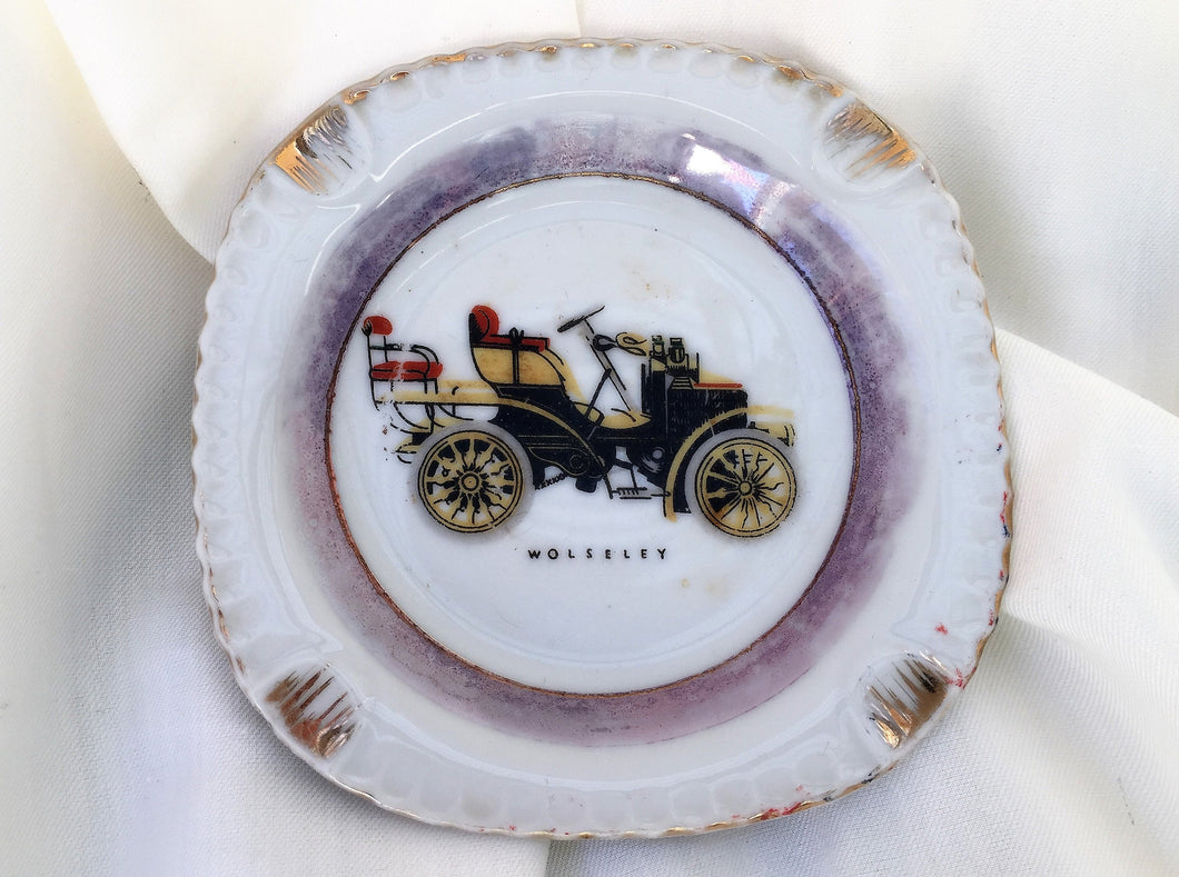 Wolseley Old Automobil Pattern Vintage Japanese Porcelain Ash Tray