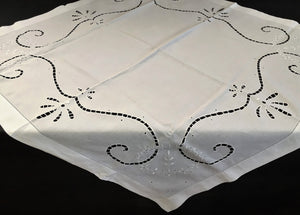 Vintage Irish Linen White Broderie Anglaise Eyelet Cutwork and Ajour Hand Embroidered Tablecloth