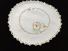 Load image into Gallery viewer, Vintage Hand Embroidered White Linen Doily with Pansies and a Crocheted Lace Edge