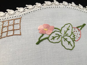 1940-1950s Vintage Hand Embroidered White Linen Doily with Strawberries and White Crocheted Lace Edge