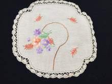 Load image into Gallery viewer, Vintage Hand Embroidered Beige Linen Doily with Wild Flowers, Wheat Ear and Intricate Crocheted Lace Edge