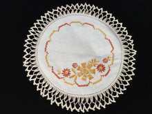 Load image into Gallery viewer, 1930/1940s Vintage Hand Embroidered Doily with Cross Stitch and Beige Crocheted Lace Edge