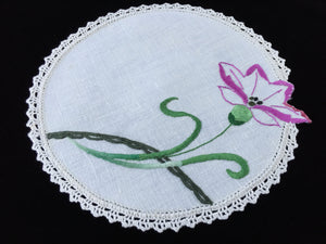 Vintage Hand Embroidered Off-white Linen Doily with Ivory Crocheted Lace Edge