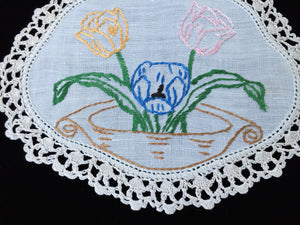 Vintage Hand Embroidered Off-white Linen Doily with a Basket of Tulips and  Ivory Crocheted Lace Edge