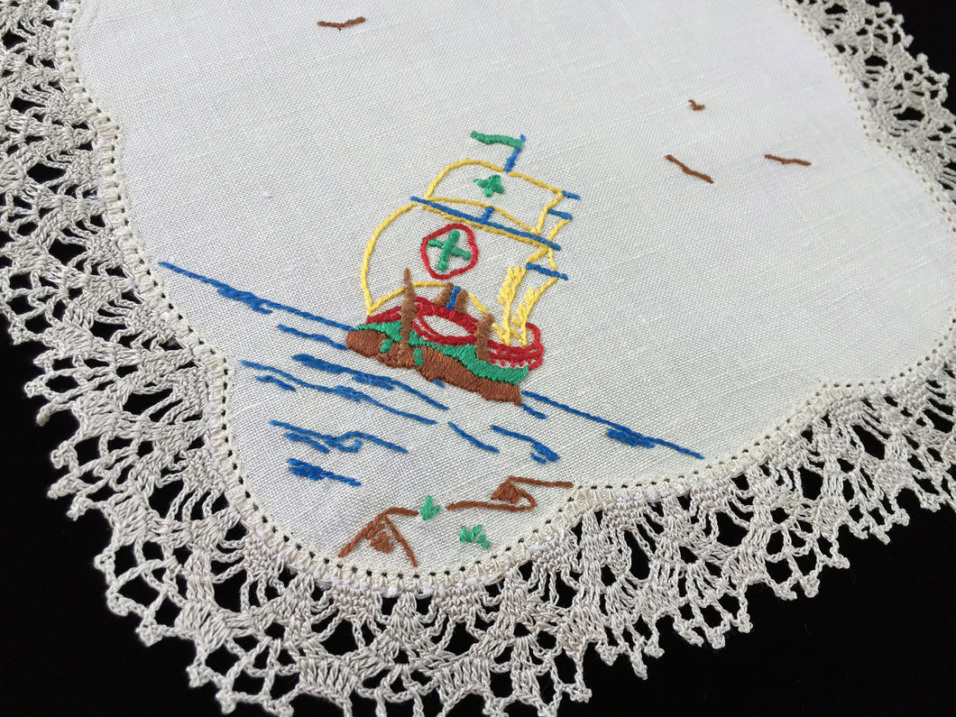 Vintage Hand Embroidered Beige Linen Doily with Tall Sail Ship and Crocheted Lace Edge