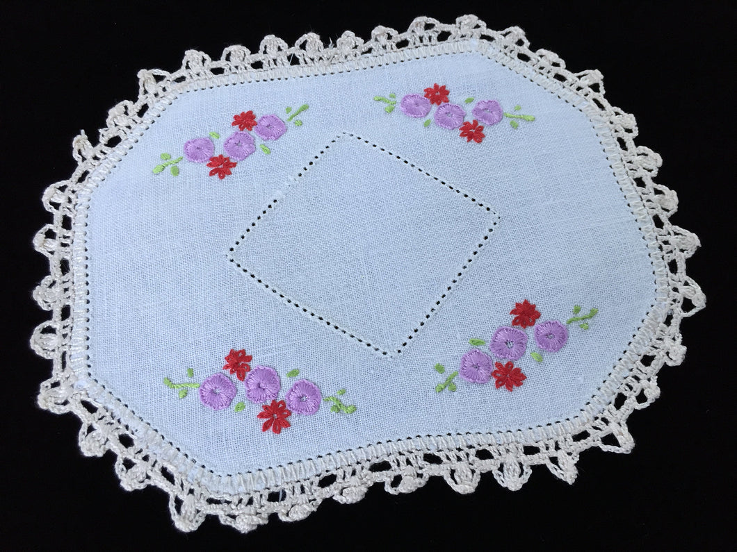 Vintage Hand Embroidered Off-white Linen Doily with Mauve and Red Flowers and Ivory Crocheted Edge