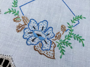 Vintage Hand Embroidered White Linen Doily with Blue Flower and Beige Crocheted Lace Edge