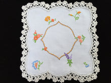 Load image into Gallery viewer, Vintage Hand Embroidered Off-white Linen Doily with Garden Flowers and Ivory Crocheted Lace Edge