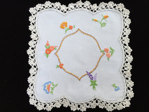 Vintage Hand Embroidered Off-white Linen Doily with Garden Flowers and Ivory Crocheted Lace Edge