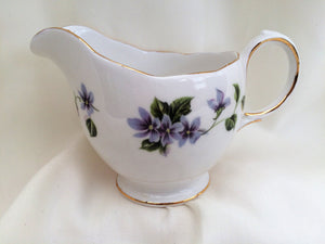 Queen Anne (England) Vintage Porcelain Creamer with Violets Pattern