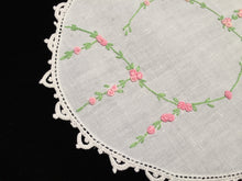 Load image into Gallery viewer, Antique Hand Embroidered White Linen Doily with Pink Flowers and a White Crocheted Lace Edge