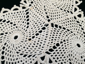Pair of Triangle Shaped Chunky Cotton Crochet Lace Doilies or Table Mats with Pinwheels Design