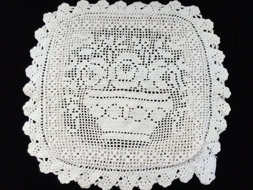 Vintage Square Cushion Cover. Off-White Crochet Lace Cushion Cover