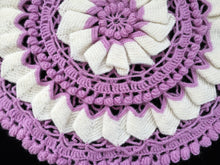 Load image into Gallery viewer, A Pair of Round Crocheted Vintage Cushion Covers in Lilac and White