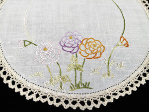 Vintage Hand Embroidered Off-white Linen Doily with Zinnias and an Ivory Crochet Lace Edge