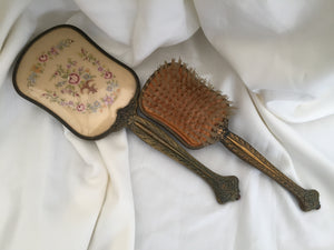 English Vintage Mirror and Brush Vanity Set with Petite Point Embroidery