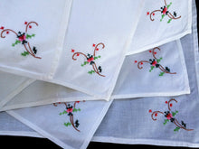 Load image into Gallery viewer, Set of 6 White Hand Embroidered Napkins with Cross Stitch Flowers