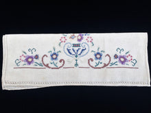 Load image into Gallery viewer, Art Deco Vintage Embroidered White Linen Tea/Guest Towel with Cross Stitch Flower Urn Motif