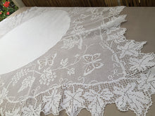 "Load image into Gallery viewer, Antique Irish Lace and Linen Tablecloth with Mary Card Designed Filet Crochet Edging ""Grapevine and Butterflies"" Chart  No. 51"""