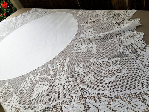 Antique Irish Lace and Linen Tablecloth with Mary Card Designed Filet Crochet Edging