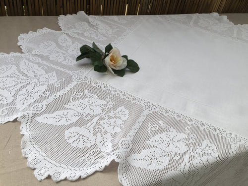 Vintage Irish Lace and Linen Tablecloth with Filet Crochet Edging