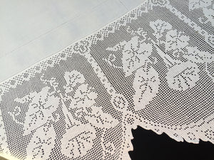"Vintage Irish Lace and Linen Tablecloth with Filet Crochet Edging ""Convolvulus Trumpet Flower Design"""