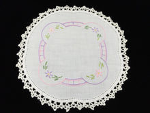 Load image into Gallery viewer, Vintage Hand Embroidered White Linen Doily with Pink  and Mauve Flowers and a White Crocheted Lace Edge