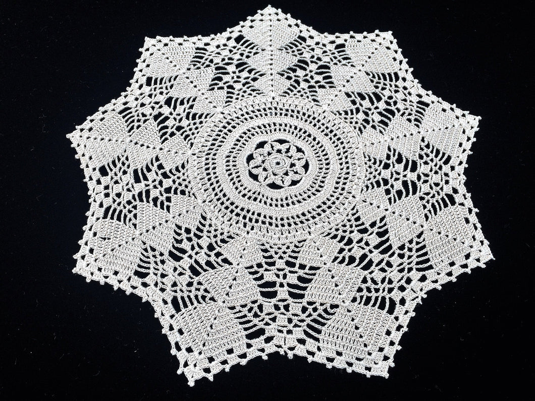 Vintage or Antique Round Crocheted Cotton Lace Doily in Ecru/Ivory Colour