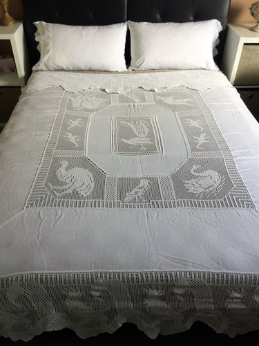Antique Irish Lace and Linen Bed Cover with Mary Card Designed Filet Crochet Inlays and Edging