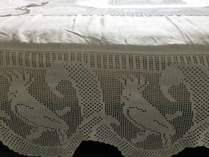 "Antique Irish Lace and Linen Bed Cover with Mary Card Designed Filet Crochet Inlays and Edging ""Australian Animals"""