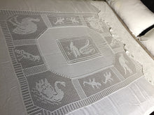 "Load image into Gallery viewer, Antique Irish Lace and Linen Bed Cover with Mary Card Designed Filet Crochet Inlays and Edging ""Australian Animals"""