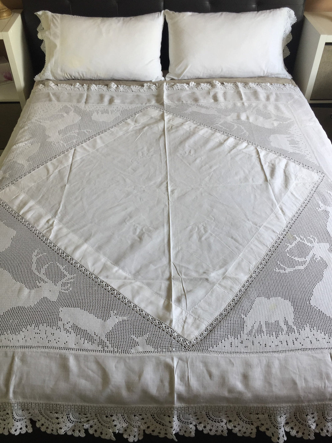 Stag Lace Antique Linen Bed Cover with Filet Crochet Corners and Edging, a Design from