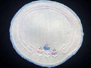Australian Vintage Hand Embroidered White Linen Doily with Blue Crocheted Edge